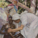 Meher Baba Bathing Leper