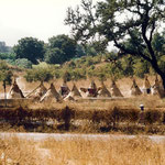 Tipee  tents near the caves ; photo by Anthony Zois