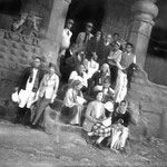 MSI Collection ; Nasik, India - 1937. Freiny is seated up the front holding a closed umbrella