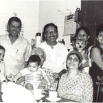 Bindra House -from left, Meherwan, Sam Kerawala, Dolly Kerawala, Mehera Arjani.Seated; Davana Brown, Gaimai with baby and Manu. Glow mag.Feb.2001