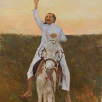 Baba riding a donkey