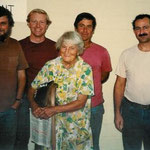 AGNES BARON with Charles Christian, Rusty Bostwick, Bob Hazard, and Sam Ervin long after the well incident. T985 after the fire at Meher Mount. (Margaret Magnus photo.)