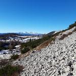 Vorbei an dem langen Schotterfeld mit Blick auf das Dachstein Massiv