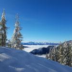 Wunderschöne Tiefblicke - die Berge des Ennstals und der Nebel im Tal