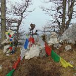 Kleine Gedenkstätte neben dem Gipfel (sieht aus wie für einen verstorbenen Hund)