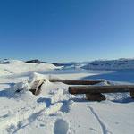 Schneeparadies am Seeufer