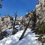 Diese Felspassage trennte uns noch vom Gipfelkreuz
