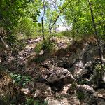 Felsige Passage vor dem Gipfel des kleinen Landsberges