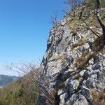 Blick auf die Felswand
