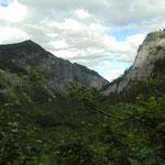 Schnell machen wir am Weg Richtung Prielschutzhaus die Höhenmeter - der Talboden rückt schnell in die Ferne