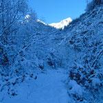 Wegverlauf durch den Schnee
