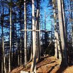 Am Zederbauerspitz erwartete uns ein schlichtes, offenbar von Wanderern selbst gebautes Gipfelkreuz