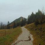 Am Rückweg taucht das Zwölferhorn wieder aus dem Nebel auf