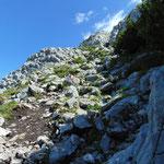 Steile steinige Passagen