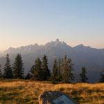Bischofsmütze und Gosaukamm - von der untergehenden Sonne angestrahlt