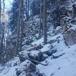 Steil geht es durch den Wald nach oben - vorbei an diesen Felsformationen