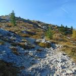 Zu Beginn verläuft der Weg mäßig steil zwischen Felsen und Wiesen, die Stellungen erreichen wir erst später