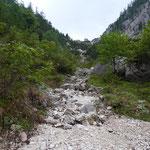 Durch die Felsrinne geht es zum Glück nicht nach oben - wir queren sie nur ab und an