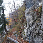 Wegverlauf des Miesweges: Seile, Leitern, Brücken