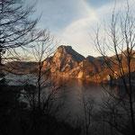 Sonnenuntergang mit Blick auf den Traunstein