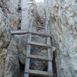 Die letzte Leiter kurz vor dem Gipfel