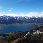 Der Blickfang am Gipfel ist eindeutig der Wolfgangsee!