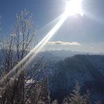 Ausblick am Gipfel - rechts sind das Dürre Eck und der Gaisberg