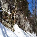Die Felswand war von der linken Seite aus zu umgehen
