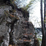 Einstieg des Miesweges - Felsen mit einer einfachen Seilsicherung