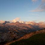 Der Schladminger Gletscher und Hallstätter Gletscher bei Sonnenaufgang