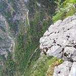 Der Zaun am Gipfel ist schon nicht schlecht - es geht ganz schön steil runter