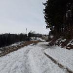 Beginn des Weges über eine Forststraße