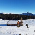 Eine der Hütten auf der Labenbergalm