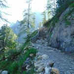 Der letzte steile Anstieg vor dem Tappenkarsee, der durch Stufen befestigt ist