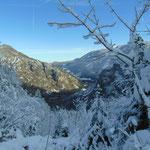 Winter-wonderland während des Abstieges