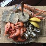 table d'hôte encas dinatoire produits de la mer à la villa en baie au Crotoy en baie de somme