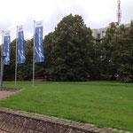 使用できるデュッセル大学のキャンパス内 芝生も多くてのんびり座って過ごす学生さんたちも