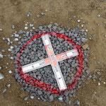 採石で地中に柱を作る