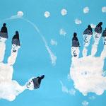 1. Kl. Handabdruck-Pinguine