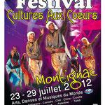 Affiche format A3 - Festival Cultures aux Cœurs 2012- Montignac