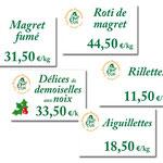 Déclinaison étiquettes prix pour la vitrine