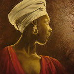 Mujer de Tschad - Óleo - 50x50 cm - Enrique Engelland