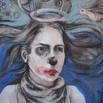 Pájaros en la cabeza - Dibujo s/tela - 100x80cm - 2012 - Carolina Ferrari