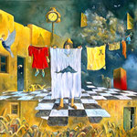 La tendedora de ropa - Óleo - 80x90cm - Daniel E. Dankh