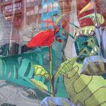 Instalación - Trapo 200x300cm - Pintura mural - Montaje de cartones y piezas de cartapesta. Ploteo sobre vidrio - 2014 - Nicole Engelhardt
