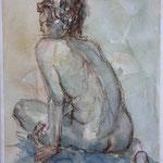 Desnudo - 23x30cm - Acuarela y lápiz - Adela Naím