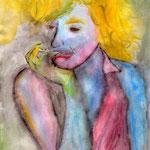 """Retrato de una Marilyn Fauvé - Acuarela y Vodka s/papel - Serie """"L' Grotesque"""" - Santiago Nitto"""