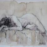 Desnudo - 29x39cm - Acuarela, lápiz, café. - Adela Naím