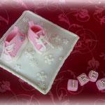 scarpine e cubi in pasta di zucchero, confetti dragée argentati