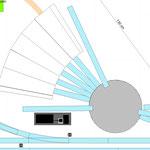 Güterschuppen Bünnig = Lokschuppen, Bekohlungsgleis vorhanden